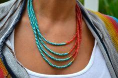Four Strand, Boho, Asymmetrical Necklace Turquoise and Peach, Coral Orange Agate, Bohemian