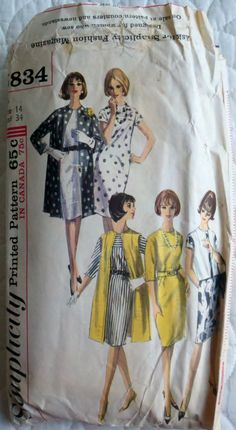 1960's Misses' Mod Dress and Jacket Vintage Sewing Pattern Simplicity 5834- Size 14 Bust 34""