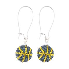 Handcrafted London Blue-Citrine (Navy Blue-Yellow) Basketball Earrings with Silver Earrings, Item E-BB2, Price:  $35.99, © GameDay Fusion