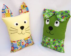 Cute Pillows, Kids Pillows, Animal Pillows, Baby Fabric, Fabric Toys, Fabric Crafts, Sewing Stuffed Animals, Stuffed Animal Patterns, Sewing For Kids