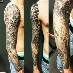 Magnificent Koi Sleeve Tattoos (3)