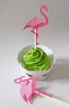 Fushia Flamingo hauts de forme de petit gâteau de mariage douche nuptiale Baby Shower régal de fête d'anniversaire alimentaire picks décorations BT009