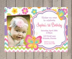 Butterflies Birthday Invitation Pink Purple by VividLaneDesigns, $14.00