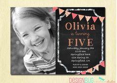Chalkboard 1st Birthday Girl Invitation - ANY Age Custom Chalkboard with Pink, Orange Bunting Photo Invitation -  Printable Invite by DesignBugStudio on Etsy https://www.etsy.com/listing/129893385/chalkboard-1st-birthday-girl-invitation