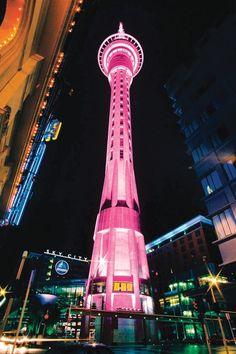Sky Tower in Auckland, New Zealand goes pink for Breast Cancer awareness.