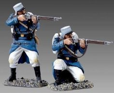 French Foreign Legion FFL017A Standing & Kneeling Firing wearing Kepi with Havelocks No Beards - Made by Thomas Gunn Military Miniatures and Models. Factory made, hand assembled, painted and boxed in a padded decorative box. Excellent gift for the enthusiast.