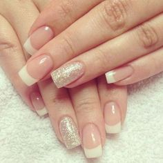 Glittering Gold French Manicure Design http://www.jexshop.com/