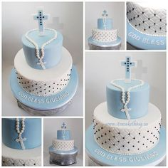 Giuliano's First Holy Communion Cake~ Feeling very honoured to have made my friend's son's cake for such a special occasion. I took inspiration and colour from the Communion Invitation. God Bless you Giuliano today and always! Boys First Communion Cakes, Boy Communion Cake, First Communion Party, Comunion Cakes, Decoration Communion, Theme Bapteme, Christening Cake Boy, Boy Baptism Cakes, Religious Cakes