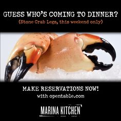 Fresh stone crab legs coming to Marina Kitchen this weekend only (10/26-10/27) #sandiego #dining