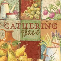 UNFRAMED Poster Gathering Place by Mid Gordon 12X12 Art Print Food Vegetables Fruits by Unframed
