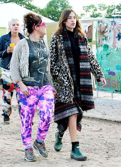 Alexa Chung attends the Glastonbury Festival at Worthy Farm on...