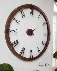 This oversized clock features hammered copper sheeting with a light gray wash and aged black details. Center hands movement is separate from the outside frame. Uses one AA battery. Some assembly required. http://www.decorbound.com/store/#!/Amarion-60-Cooper-Wall-Clock/p/48308212/category=10255220