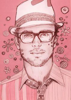 Illustration by Amylee PARIS www. Creative Self Portraits, Art Rose, Art Et Illustration, Art Clipart, Dope Art, Pink Art, Art Images, Les Oeuvres, Art Photography
