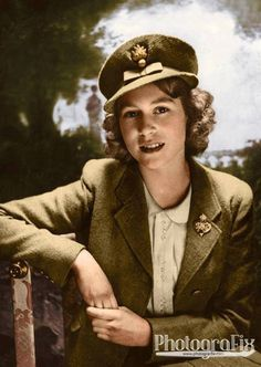 #WW2ColourisedPhotos ... Queen Elizabeth II is 90 years old today  This photo shows a young Princess Elizabeth who became Colonel in Chief of the Grenadier Guards in October 1942.  In February 1942, the King appointed his fifteen-year-old daughter Colonel of the Grenadier Guards, the senior Regiment of the Foot Guards. It was the first time in history that a woman had held the position.  The Princess wears an embroidered grenade in her cap and a blue enamelled and diamond brooch....