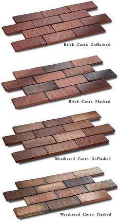 Fun tile flooring that looks like old cobblestones or bricks.