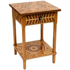 American Folk Art Marquetry Side Table | From a unique collection of antique and modern side tables at https://www.1stdibs.com/furniture/tables/side-tables/