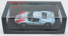 SPARK-MODEL S4075 Scale 1/43  FORD MKII N 1 2nd 24h LE MANS 1966 K.MILES - D.HULME LIGHT BLUE ORANGE