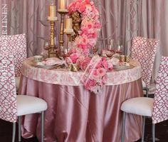 Toile Pink Table Cap over Charmeuse Rose Underlay; Geometric Guava Chair Back; Toile Pink Napkins