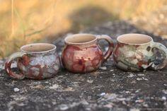 "Raku mugs of the series ""Another world"". Raku roasting. $16.00 Кружки из серии ""Другой мир"". Раку керамика. Раку обжиг"