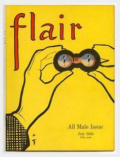 Flair Magazine cover by René Gruau / July 1950 Jacques Fath, Elsa Schiaparelli, Christian Dior, Pierre Balmain, Marie Claire, Picasso Drawing, Fifty Cent, Rene Gruau, The Secret World