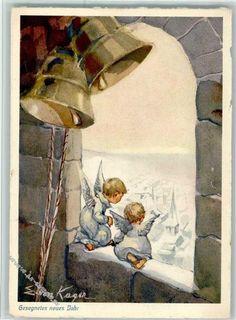 Verlag Henke Gesegnetes Neujahr - Engel mit Glocken