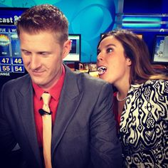 Jessica the Vampire is sneaking up on Michael Stevens in the Weather Center!   Happy Halloween from #MTM!