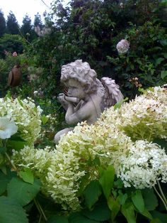 Statuary in the garden takes centre stage in any garden!  Lovely flowers.