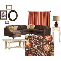 My family room colors! This is the rug I wanted from target. Sold out. :( Love the chocolate color couch!