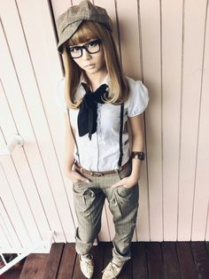 THIS LOOK IS SO CUTE- I WANT AN OUTFIT LIKE THIS!!!! Esprit Newsboy  Hat, June's Fashion White Ruffles Neck Shirt, Ojikawa Skinny Pants, Gold Pixie Oxford Flats, Odm Pixel In Brown
