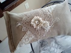 SOLD! Burlap & vintage lace pillow. This pillow is in my house.  A gift from my friend RomNee.