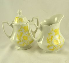 Staffordshire Creamer Sugar J & G Meakin   by ChicMouseVintage