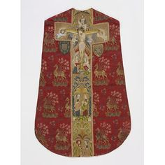 Introduction to English Embroidery: Brocaded silk chasuble with embroidery in silk and silver-gilt thread, by unknown maker, probably England, Museum no. Victoria and Albert Museum, London Medieval Embroidery, Catholic Priest, Roman Catholic, Fibre And Fabric, Early Middle Ages, Renaissance Paintings, Hand Embroidery Patterns, Embroidery Books, Victoria And Albert Museum