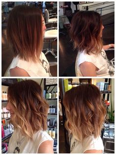 red blonde ombre hair angled bob - Google Search
