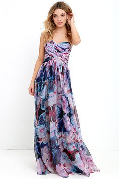 Bariano Special Effects Purple Floral Print Maxi Dress
