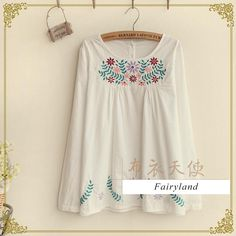 Long-Sleeve Embroidered Top, White , One Size - Fairyland | YESSTYLE