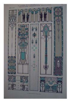 French Art nouveau print 1900 craft project by Papeteriedeparis, $23.00