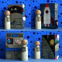 Wooden Toy - Large Wooden Peg Doll, Astronaut  Puzzle / Playscene Playblox / Wooden Blocks / christmasinjuly. $54.00, via Etsy.