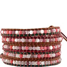 Chan Luu Pink Mix on Sunset Leather Wrap Bracelet in Pink Mix