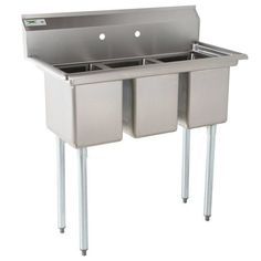 Regency Stainless Steel Three Compartment Commercial Sink with Galvanized Steel Legs and without Drainboards - x x Bowls Stainless Steel Sinks, Stainless Steel Types, Kohler Sink, Bathroom Sinks, Commercial Sink, Industrial Kitchen Design, Happy Kitchen, Galvanized Steel