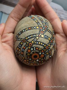 Hand painted cobble: decoration, paperweight, centrepiece, gratitude stone