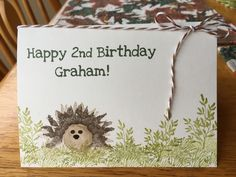Painted Harvest Stampin Up hedgehog Juvenile Birthday card