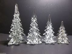 "Vintage Art Glass CHRISTMAS TREE Set Of 4 CRYSTAL CLEAR 9"" 8"" 6.5"" 5"" #CHRISTMASTREE"
