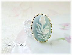 SALEShabby Chic Pastel Blue & White Flower Cameo by Alyssabeths, $12.50