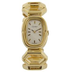 Cartier Lady's Yellow Gold Bracelet Wristwatch | From a unique collection of vintage wrist watches at https://www.1stdibs.com/jewelry/watches/wrist-watches/