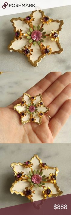 Selling this Lovely vintage flower brooch gold enamel on Poshmark! My username is: oldsewlvintage. #shopmycloset #poshmark #fashion #shopping #style #forsale #Vintage #Jewelry