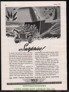 1943 WW II US Army JEEP exiting from WACO Glider WWII WW2 AD