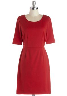 Conference Room Chic Dress in Red. After grabbing your laptop and your mug of coffee, you stride this crimson, ModCloth-exclusive sheath into the conference room. #red #modcloth