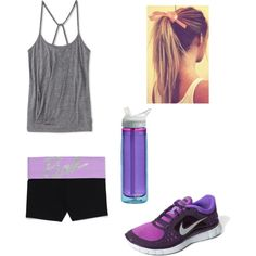 purple & grey exercise attire