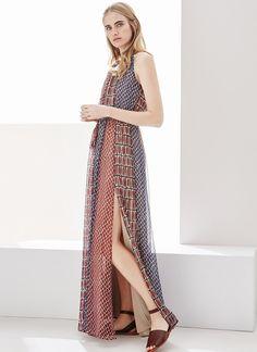 Vestido fluido con diseño patchwork