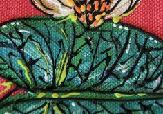 "Sac en lin peint à la main / motif ""Nenuphars"" - FEMMES/Sacs - ANA SELENA"
